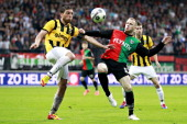 Playoffs NEC VitesseGuram Kashia of Vitesse Melvin Platje of NEC during the Eredivisie Europa League Playoff match between NEC Nijmegen and Vitesse...