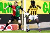 Playoffs Vitesse NECRens van Eijden of NEC Wilfried Bony of Vitesse during the Eredivisie Europa League Playoff match between Vitesse Arnhem and NEC...