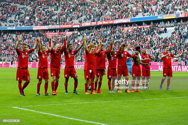 Playres of Muenchen celebrate victory after winning the Bundesliga match between FC Bayern Muenchen and 1 FC Koeln at Allianz Arena on October 24...