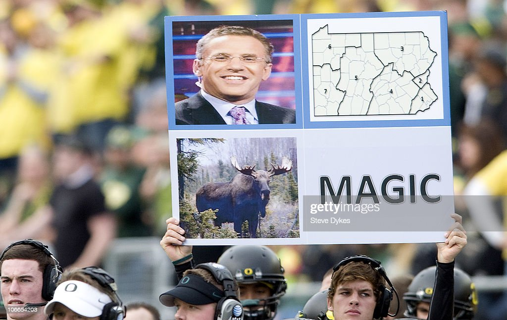 Plays are signaled out to the Oregon Ducks offensive team by use of a large signal board in the first quarter of the game against the Washington...