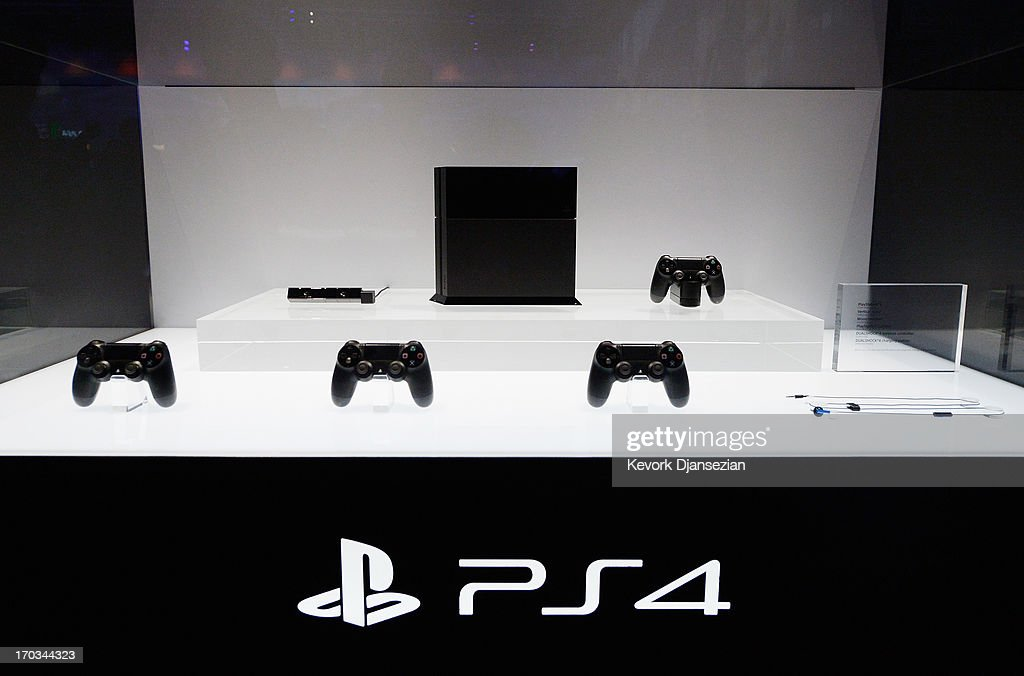 A Playstation 4 and its controllers on display at the Sony Playstation E3 2013 booth at the Los Angeles Convention Center on June 11, 2013 in Los Angeles, California. Thousands are expected to attend the annual three-day convention to see the latest games and announcements from the gaming industry.