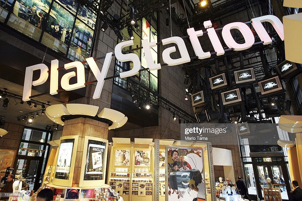 A PlayStation logo is seen inside the Sony store October 26, 2006 in New York City. Sony's quarterly profit dropped 94 percent following a global battery recall.