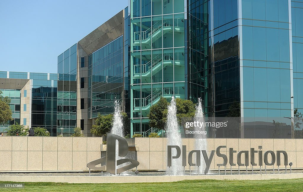 PlayStation signage stands on display outside the Sony Computer Entertainment America's headquarters in San Mateo, California, U.S., on Tuesday, Aug. 20, 2013. Sony Corp. will start selling the PlayStation 4 in North America on Nov. 15, moving to obtain an early advantage in the largest video-game market against Microsoft Corp. Photographer: Noah Berger/Bloomberg via Getty Images