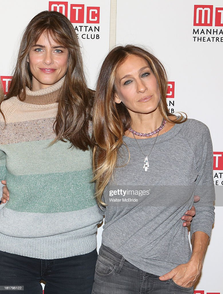Playwright Amanda Peet and Sarah Jessica Parker attending the Meet & Greet for the MTC Production of 'The Commons of Pensacola' at the Manhattan Theatre Club Rehearsal Studios on September 25, 2013 in New York City.