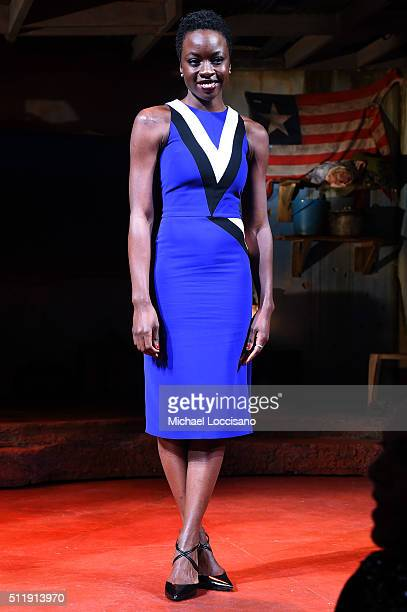 Playwright and actress Danai Gurira poses onstage at the first preview of 'Eclipsed' on Broadway at the Golden Theatre on February 23 2016 in New...