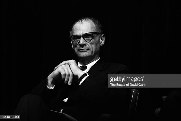Playwright and essayist Arthur Miller on stage in November 1966 at an event for Russian poet Yevgeny Yevtushenko at Queens College in New York City...