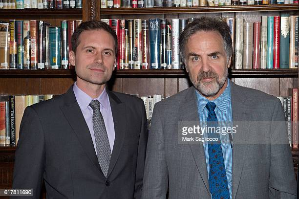 Playwright and Horton Foote Prize Recipient Zayd Dohm and Tim Sanford attend the 2016 Horton Foote Prize at The Lotos Club on October 24 2016 in New...