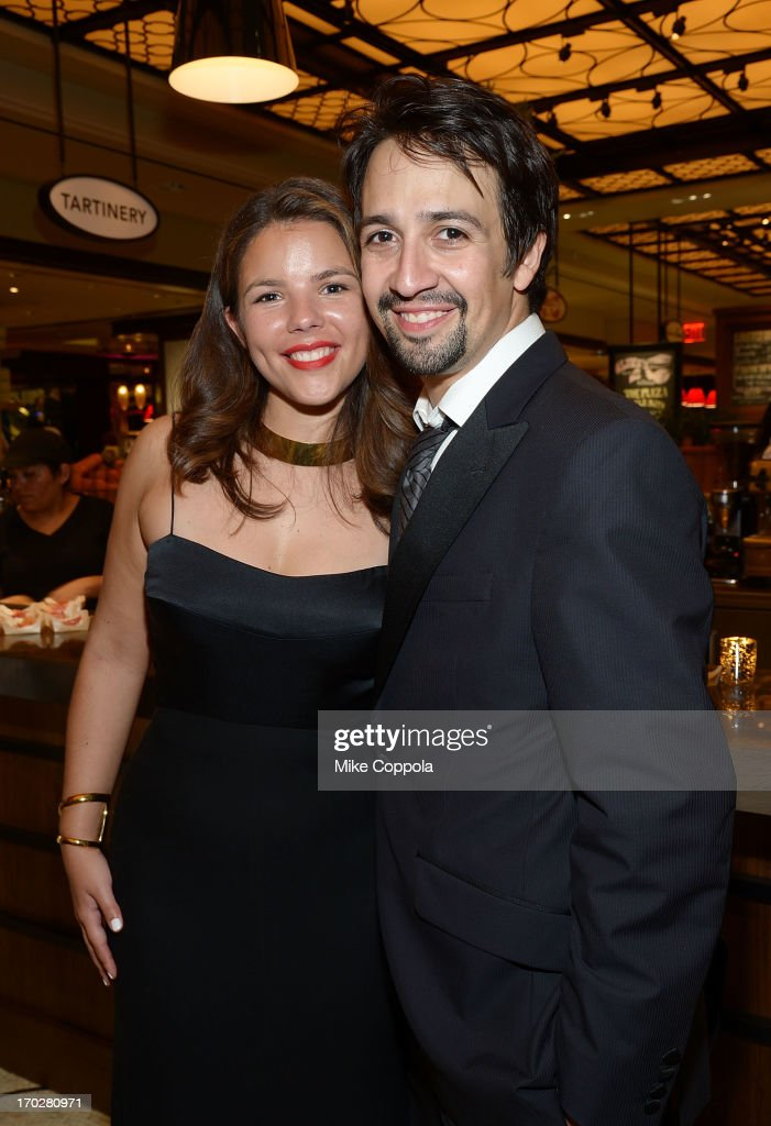 Playwright and Vanessa Nadal (L) and husband <a gi-track='captionPersonalityLinkClicked' href=/galleries/search?phrase=Lin-Manuel+Miranda&family=editorial&specificpeople=4190598 ng-click='$event.stopPropagation()'>Lin-Manuel Miranda</a> pose for a picture on June 9, 2013 in New York City.