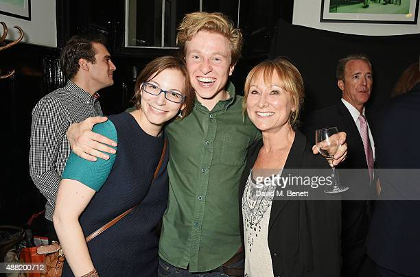 Playwright Anna Ziegler cast member Will Attenborough and Karen Lewis attend the 'Photograph 51' press night after party at the The National Cafe on...