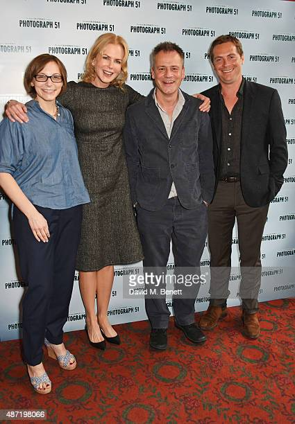 Playwright Anna Ziegler Nicole Kidman director Michael Grandage and Stephen Campbell Moore pose at a photocall for the Michael Grandage Company's...