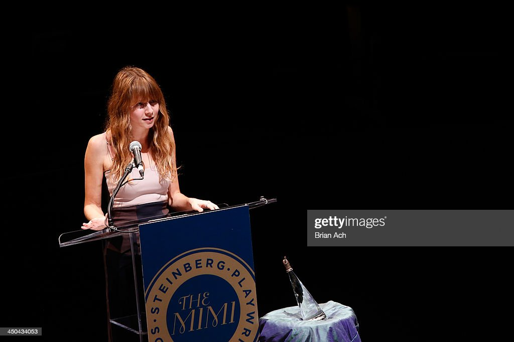 Playwright Annie Baker speaks onstage at The 2013 Steinberg Playwright 'Mimi' Awards presented by The Harold and Mimi Steinberg Charitable Trust at Lincoln Center Theater on November 18, 2013 in New York City.