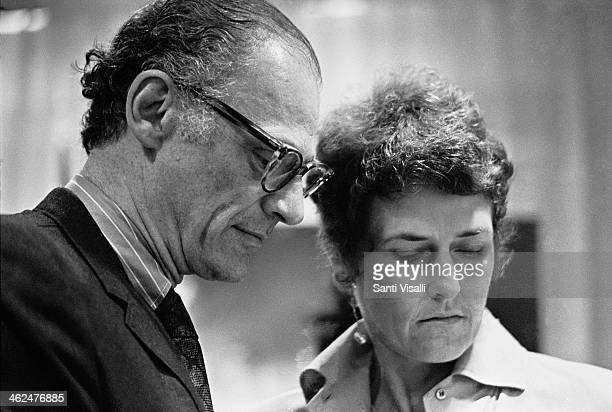 Playwright Arthur Miller with wife Inge Morath on November 12 1969 in New York New York