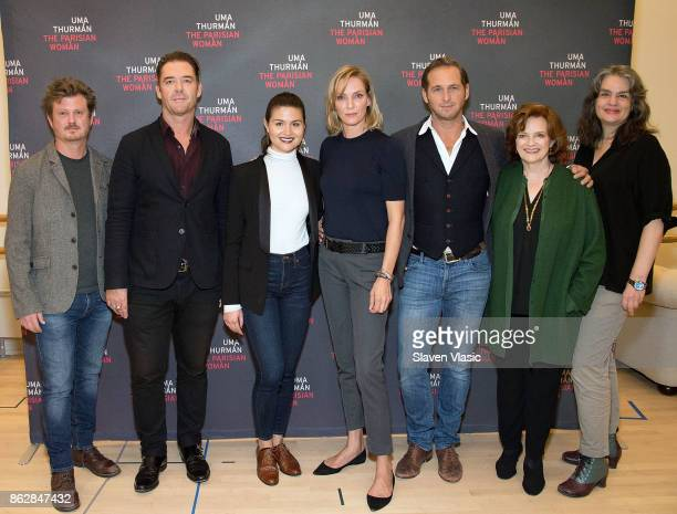 Playwright Beau Willimon cast members Marton Csokas Phillipa Soo Uma Thurman Josh Lucas Blair Brown and director Pam MacKinnon attend 'The Parisian...