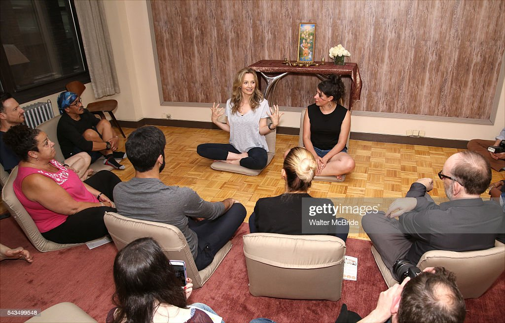 Playwright Bess Wohl and director Rachel Chavkin with the cast attends the 'Small Mouth Sounds' Cast Meet & Greet at Ziva Meditation on June 28, 2016 in New York City.