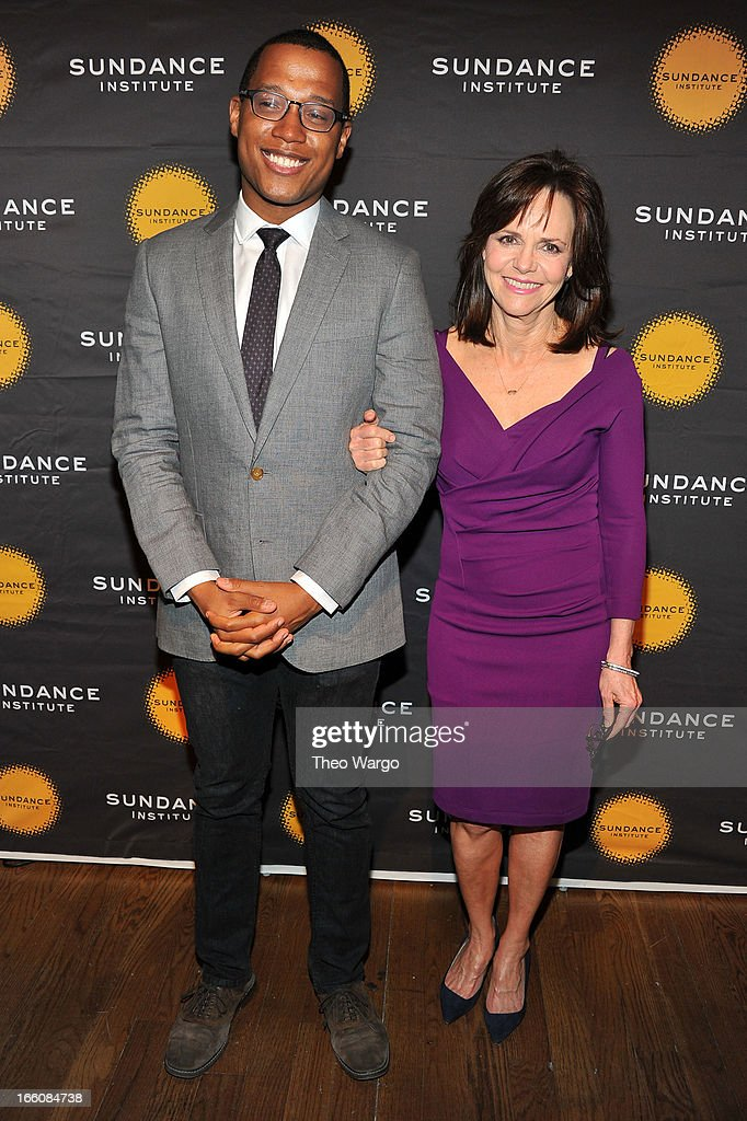Playwright Branden Jacobs-Jenkins and actress Sally Field attend the Celebrate Sundance Institute benefit for its Theatre Program, supported by CÎROC Vodka at the Stephen Weiss Studio on April 8, 2013 in New York City.