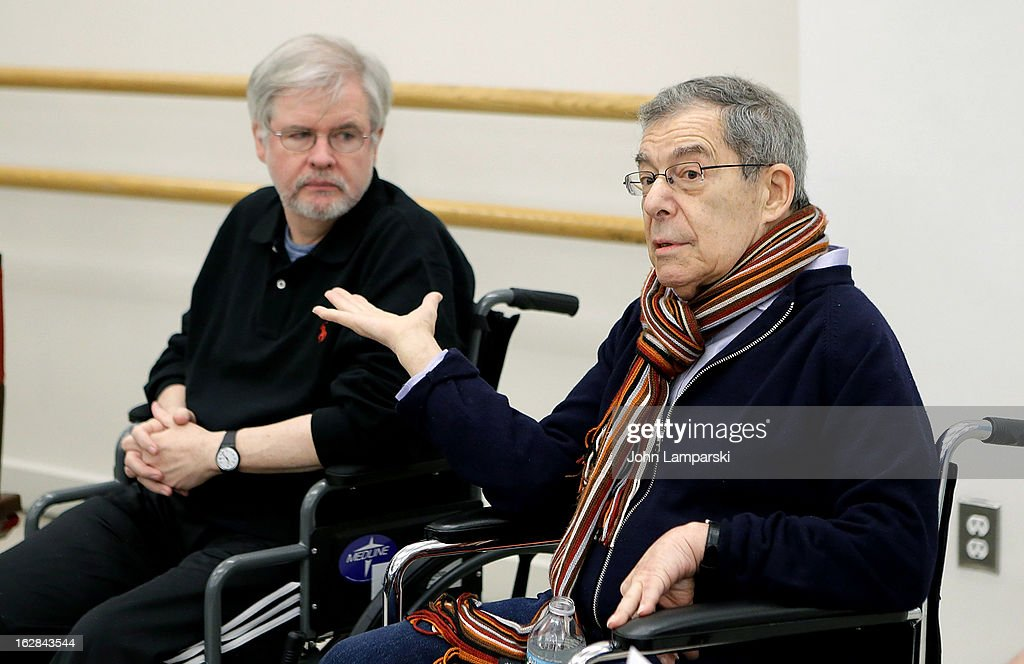 Playwright Christopher Durang and Director Nicholas Martin (R) attend 'Vanya And Sonia And Masha And Spike' Broadway Press Preview at The New 42nd Street Studios on February 28, 2013 in New York City.