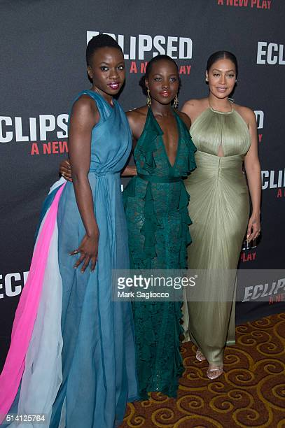 Playwright Danai Gurira Actress Lupita Nyong'o and Producer LaLa Anthony attend the 'Eclipsed' Broadway Opening Night at the Golden Theatre on March...