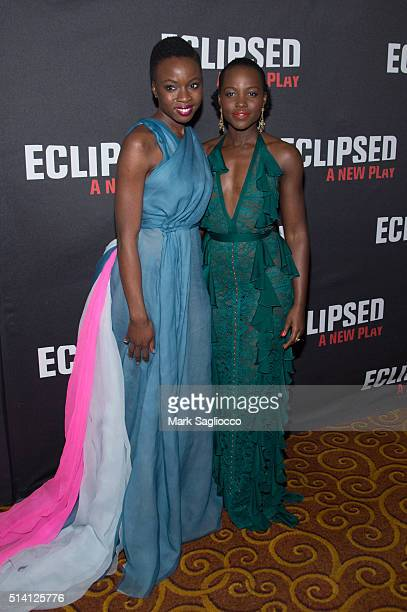 Playwright Danai Gurira and Actress Lupita Nyong'o attend the 'Eclipsed' Broadway Opening Night at the Golden Theatre on March 6 2016 in New York City