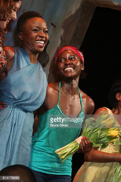 Playwright Danai Gurira and Lupita Nyong'o who plays 'The Girl' take thier Opening Night curtain call for 'Eclipsed' on Broadway at The John Golden...