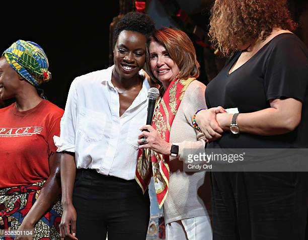 Playwright Danai Gurira and Minority Leader of the United States House of Representatives Nancy Pelosi take part in a special dedication and...