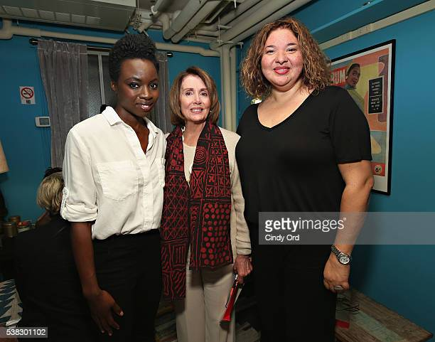 Playwright Danai Gurira Minority Leader of the United States House of Representatives Nancy Pelosi and director Liesl Tommy pose for a photo...