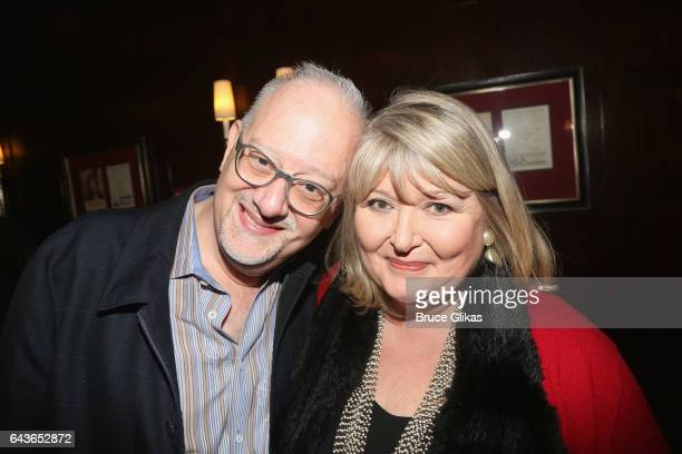Playwright Doug Wright and 2004 'War Paint' BookAuthor Lindy Woodhead pose at the photo call for the new play 'War Paint' at The Algonquin Hotel on...