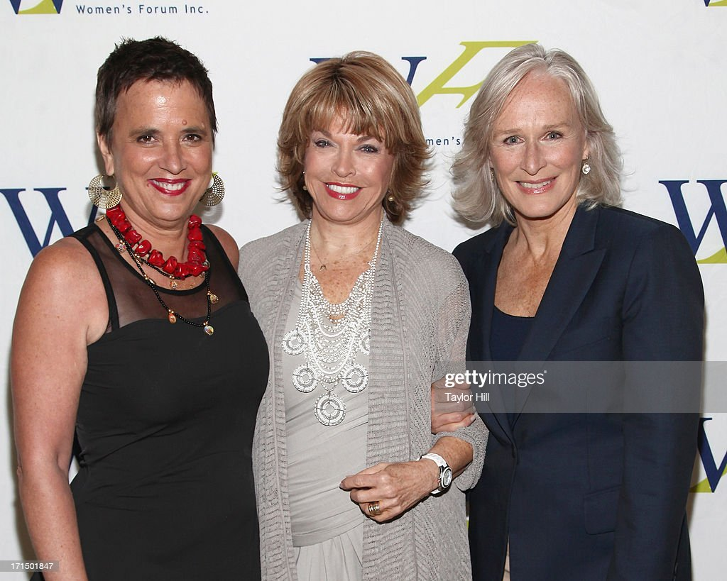 Playwright <a gi-track='captionPersonalityLinkClicked' href=/galleries/search?phrase=Eve+Ensler&family=editorial&specificpeople=203150 ng-click='$event.stopPropagation()'>Eve Ensler</a>, Paley Center for Media CEO <a gi-track='captionPersonalityLinkClicked' href=/galleries/search?phrase=Pat+Mitchell&family=editorial&specificpeople=228102 ng-click='$event.stopPropagation()'>Pat Mitchell</a>, and actress <a gi-track='captionPersonalityLinkClicked' href=/galleries/search?phrase=Glenn+Close&family=editorial&specificpeople=201870 ng-click='$event.stopPropagation()'>Glenn Close</a> attend the 3rd annual Elly Awards luncheon at The Plaza Hotel on June 25, 2013 in New York City.