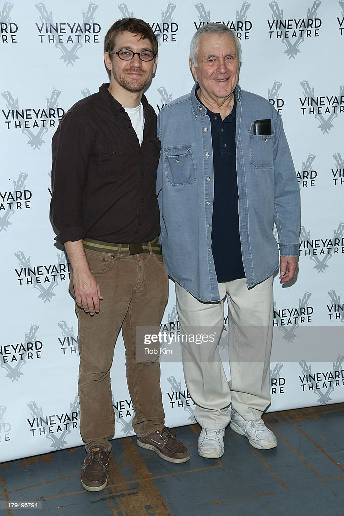 Playwright Greg Pierce (L) and composer John Kander attend 'The Landing' Cast Photo Call at Roundabout Theatre Company Rehearsal Studios on September 4, 2013 in New York City.