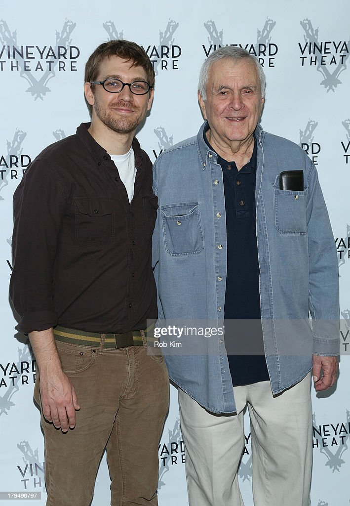 Playwright Greg Pierce (L) and composer <a gi-track='captionPersonalityLinkClicked' href=/galleries/search?phrase=John+Kander&family=editorial&specificpeople=631079 ng-click='$event.stopPropagation()'>John Kander</a> attend 'The Landing' Cast Photo Call at Roundabout Theatre Company Rehearsal Studios on September 4, 2013 in New York City.