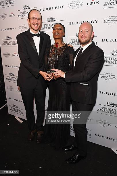 Playwright Jack Thorne actress Noma Dumezweni and director John Tiffany accepting the Best Play award with Hiscox for 'Harry Potter And The Cursed...