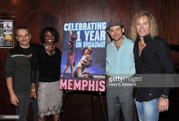 Playwright Joe DiPietro actress Montego Glover actor Chad Kimball and musician David Bryan celebrate 'Memphis' being on Broadway for one year at BB...