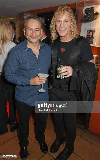 Playwright Joe DiPietro and composer David Bryan attend the press night after party for 'The Toxic Avenger The Musical' at The Planet Hollywood on...