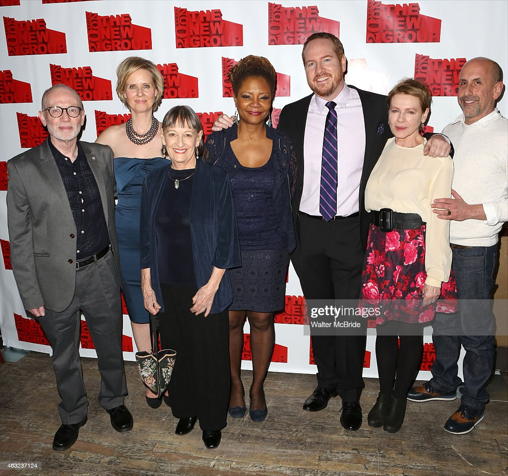 Playwright Joel Drake Johnson, director Cynthia Nixon, Patricia Conolly, Tonya Pinkins, Darren Goldstein, Dianne Wiest and artistic director Scott Elliott attends the Off-Broadway Opening Night After Party for 'Rasheeda Speaking' at the West Bank Cafe on February 11, 2015 in New York City.