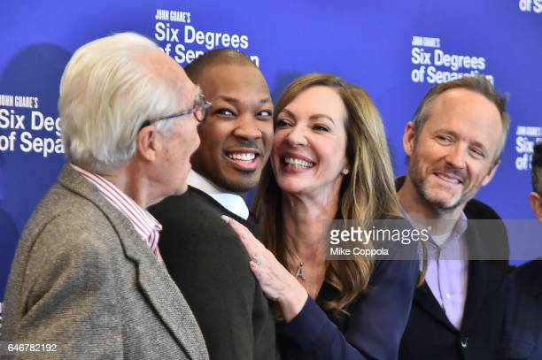 Playwright John Guare Actors Corey Hawkins Allison Janney and John Benjamin Hickey attend the 'Six Degrees Of Separation' Cast Meet Greet at The New...