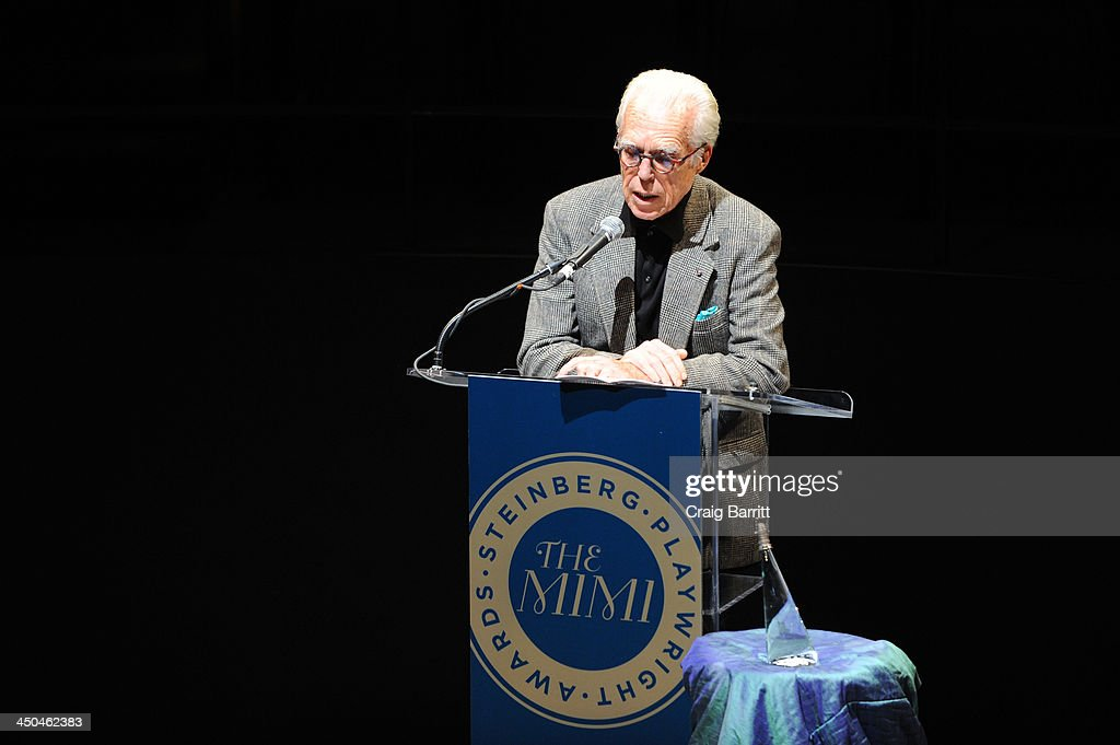 Playwright John Guare speaks onstage at attends The 2013 Steinberg Playwright 'Mimi' Awards presented by The Harold and Mimi Steinberg Charitable Trust at Lincoln Center Theater on November 18, 2013 in New York City.