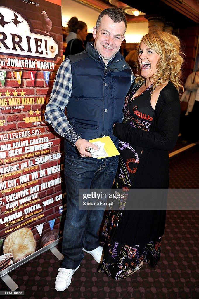 Playwright Jonathan Harvey (L) and former 'Coronation Street' actress Sally Lindsay attend the press night of 'Corrie! The Play' at Manchester Palace Theatre on April 4, 2011 in Manchester, England.