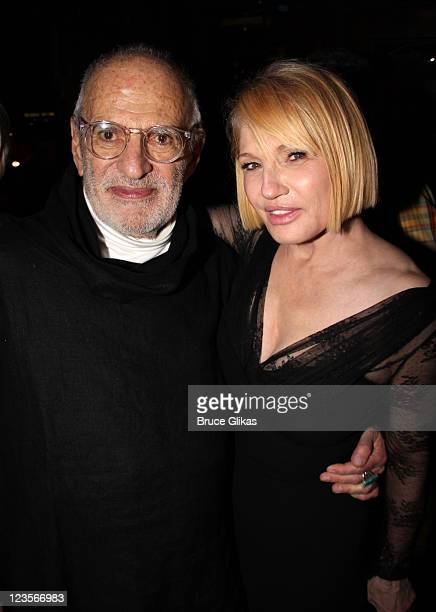 Playwright Larry Kramer and Ellen Barkin attend 'The Normal Heart' After Party for The 2011 Tony Awards at the Amsterdam Ale House on June 12 2011 in...