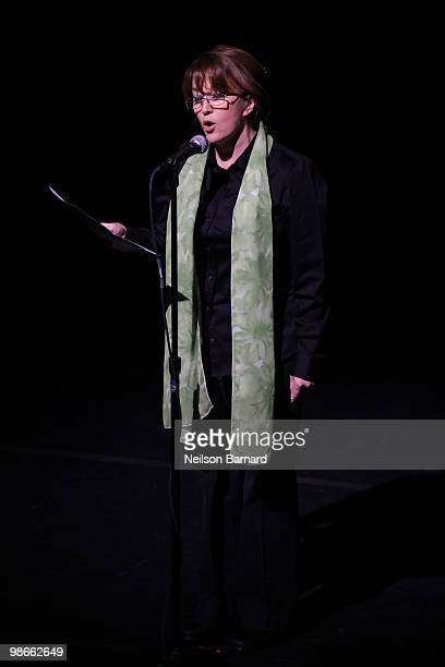 Playwright Mary Apick speaks on stage before a special performance of 'Beneath The Veil' at Lincoln Center for the Performing Arts on April 25 2010...