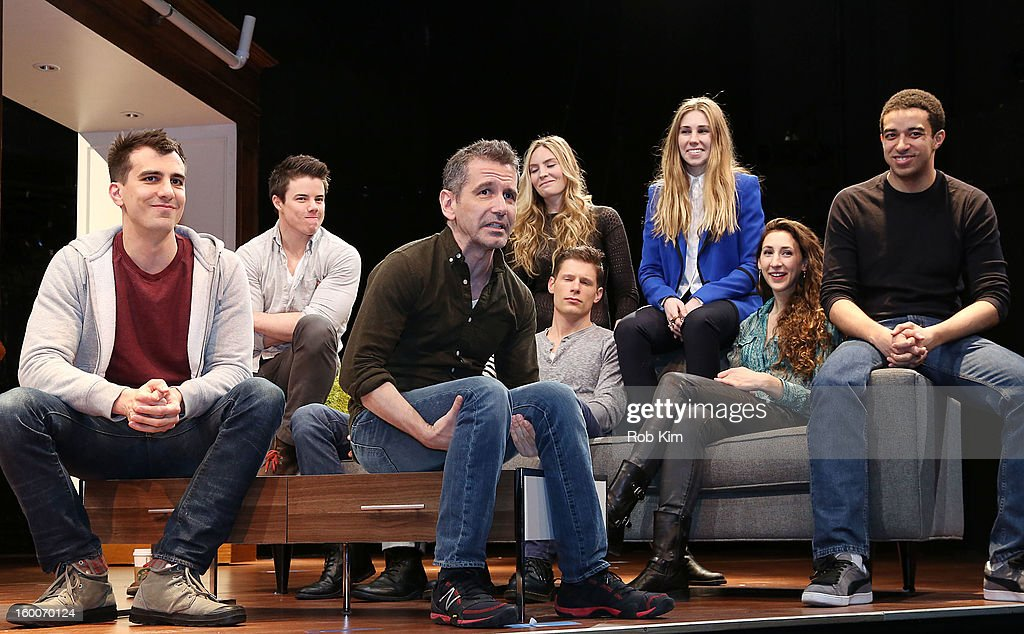 Playwright Paul Downs Colaizzo and director David Cromer (front) with cast (L-R top row) David Hull, Aleque Reid, <a gi-track='captionPersonalityLinkClicked' href=/galleries/search?phrase=Zosia+Mamet&family=editorial&specificpeople=7439328 ng-click='$event.stopPropagation()'>Zosia Mamet</a>, (L-R bottom row) Evan Jonigkeit, Matt Lauria, Lauren Culpepper and Kobi Libii attend the 'Really Really' cast photo call at Lucille Lortel Theatre on January 25, 2013 in New York City.