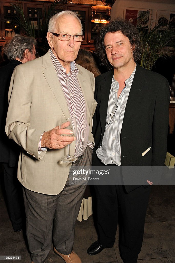 Playwright Peter Nichols (L) and director <a gi-track='captionPersonalityLinkClicked' href=/galleries/search?phrase=David+Leveaux&family=editorial&specificpeople=239085 ng-click='$event.stopPropagation()'>David Leveaux</a> attend an after party following the press night performance of 'Passion Play' at The National Gallery on May 7, 2013 in London, England.