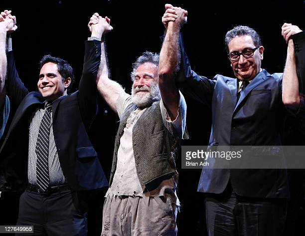 Playwright Rajiv Joseph cast member Robin Williams and director Moises Kaufman attend the opening night of 'Bengal Tiger At The Baghdad Zoo' at the...