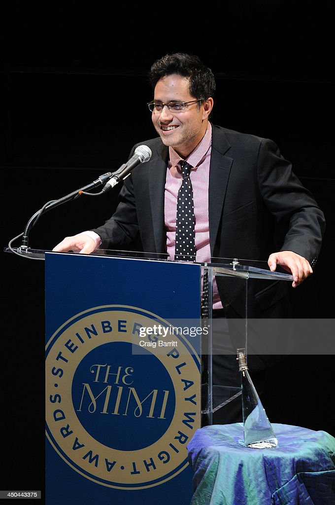 Playwright Rajiv Joseph speaks onstage at The 2013 Steinberg Playwright 'Mimi' Awards presented by The Harold and Mimi Steinberg Charitable Trust at Lincoln Center Theater on November 18, 2013 in New York City.