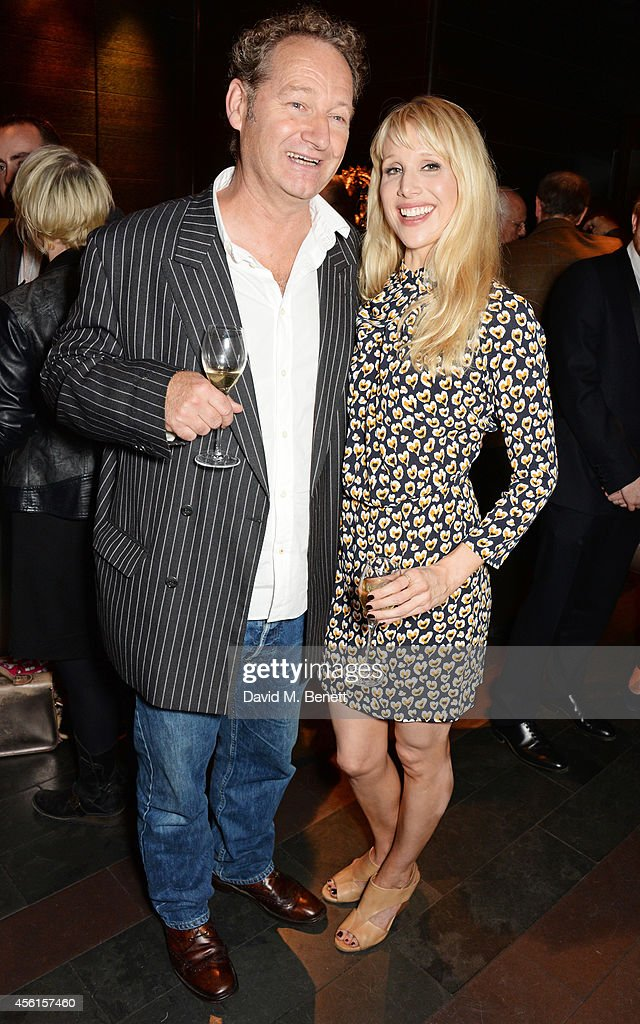 Playwright Richard Bean (L) and cast member Lucy Punch attend the press night performance of 'Great Britain' following its transfer to the Theatre Royal Haymarket at Mint Leaf on September 26, 2014 in London, England.