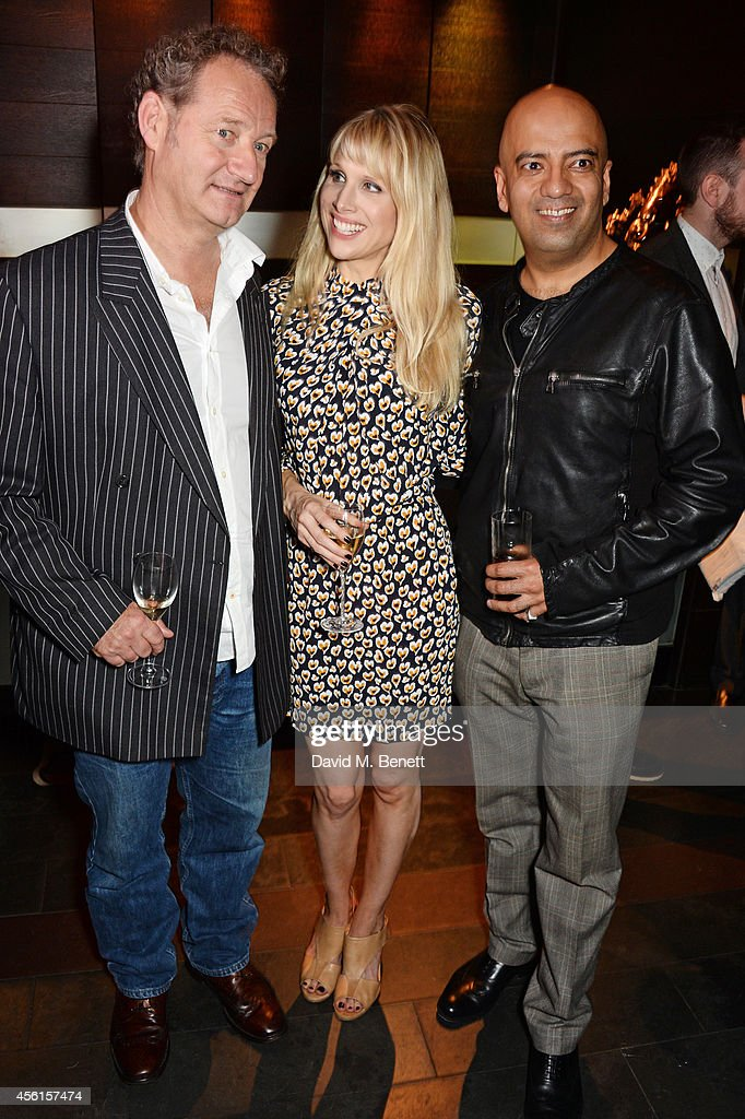 Playwright Richard Bean poses with cast members Lucy Punch and Aaron Neil attend the press night performance of 'Great Britain' following its transfer to the Theatre Royal Haymarket at Mint Leaf on September 26, 2014 in London, England.