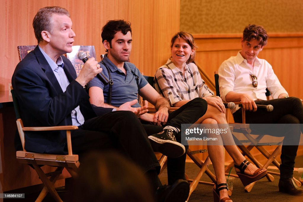 Playwright Rick Elice, actor Adam Chanler-Berat, actress Celia Keenan-Bolger and actor <a gi-track='captionPersonalityLinkClicked' href=/galleries/search?phrase=Christian+Borle&family=editorial&specificpeople=2530960 ng-click='$event.stopPropagation()'>Christian Borle</a> attend the 'Peter And The Starcatcher' Q & A and Autograph Signing at Barnes & Noble, 86th & Lexington on June 14, 2012 in New York City.
