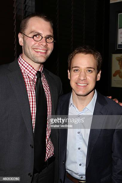 Playwright Samuel D Hunter and TR Knight attend the Opening Night After Party for 'Pocatello' at Heartland Brewery on December 15 2014 in New York...