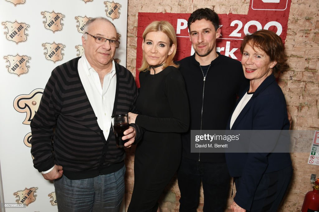 Playwright Stewart Permutt, Michelle Collins, Joe Coen and Celia Imrie attend the press night performance of 'A Dark Night In Dalston' at the Park Theatre on March 13, 2017 in London, England.