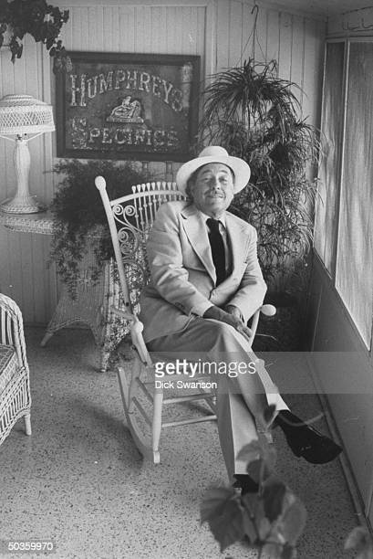 Playwright Tennessee Williams relaxing at the home of director Michael Kahn