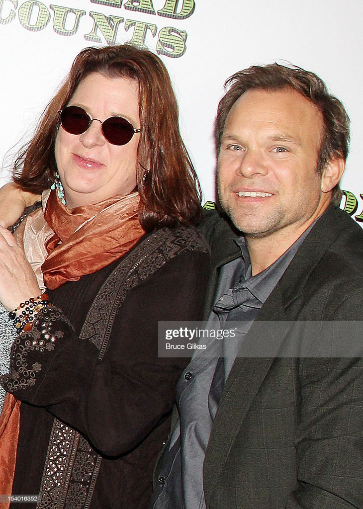 Playwright Theresa Rebeck and <a gi-track='captionPersonalityLinkClicked' href=/galleries/search?phrase=Norbert+Leo+Butz&family=editorial&specificpeople=206859 ng-click='$event.stopPropagation()'>Norbert Leo Butz</a> attend the 'Dead Accounts' Broadway cast photocall at Sardi's on October 12, 2012 in New York City.