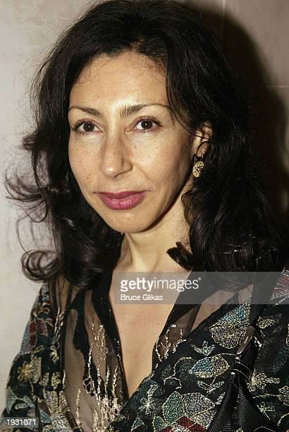 Playwright Yasmina Reza celebrates at the opening night party for 'Life 3' at Laura Belle March 31 2003 in New York City